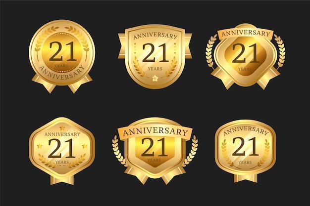 Goldene 21-jährige abzeichensammlung