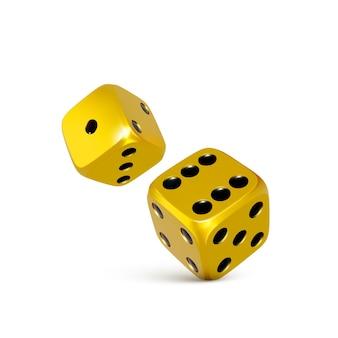 Goldene 3d-würfel. spielen sie das casino, das craps-vorlage für banner wirft. vektor-illustration isoliert auf weißem hintergrund
