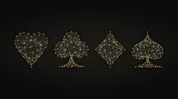 Goldene abstrakte illustration von spielkartenanzügen