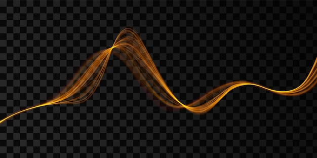 Goldene abstrakte welle magisches liniendesign flow-bewegungselement neon-wellen-illustration