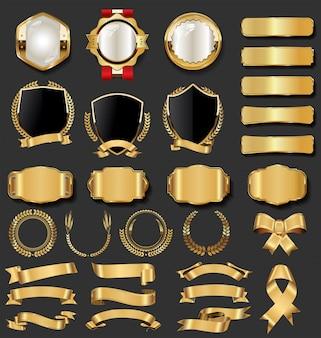 Goldene abzeichen der retro weinlese und aufklebersammlung