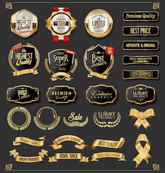 Goldene abzeichen der retro- weinlese und aufklebersammlung