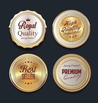 Goldene abzeichen und etiketten