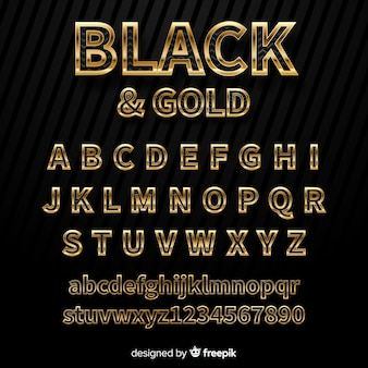 Goldene alphabet-vorlage