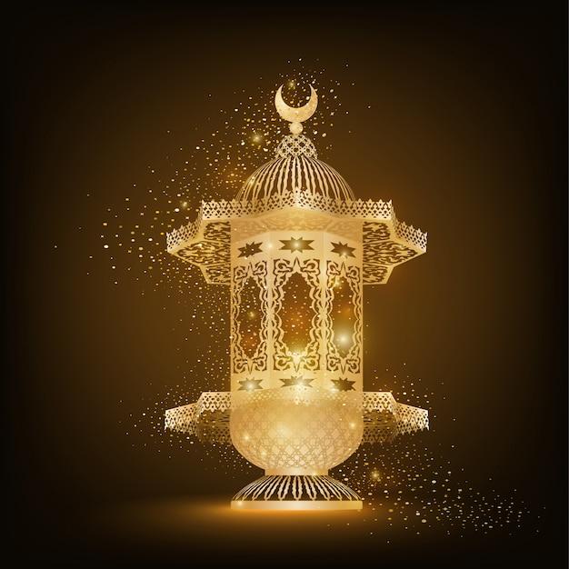 Goldene arabische lampe mit islamischem muster für die feier des ramadan kareem