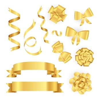 Goldene bänder für die geschenkverpackung