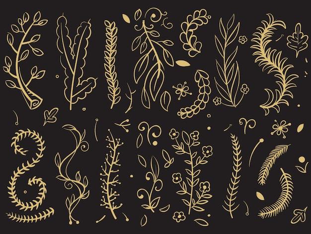 Goldene bäume und blumenniederlassungen auf schwarzem