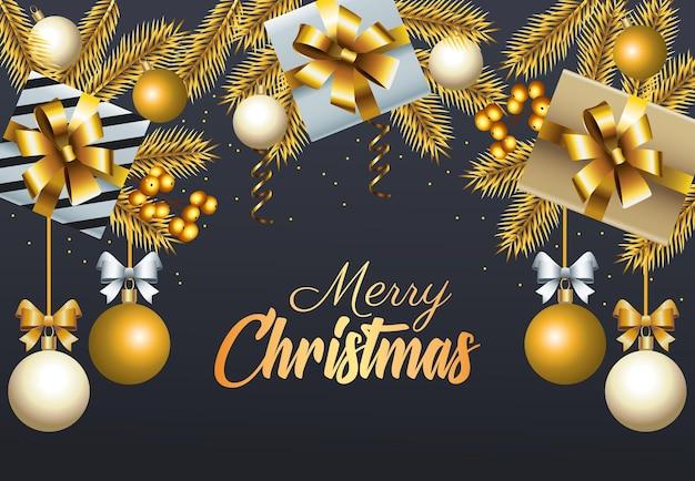 Goldene beschriftung der glücklichen frohen weihnachten mit bällen und geschenkillustration