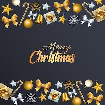 Goldene beschriftung der glücklichen frohen weihnachten mit der rahmenillustration der dekorativen ikonen