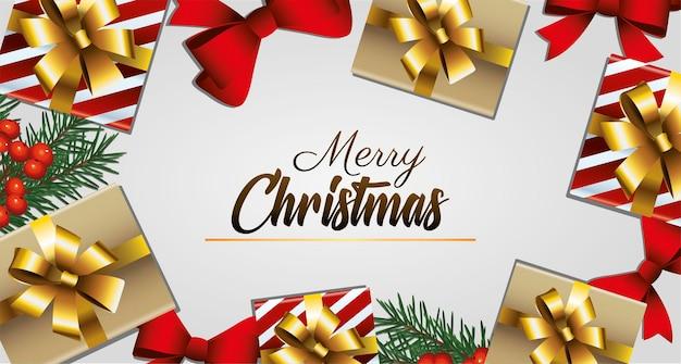 Goldene beschriftung der glücklichen frohen weihnachten mit geschenken und bogenrahmenillustration
