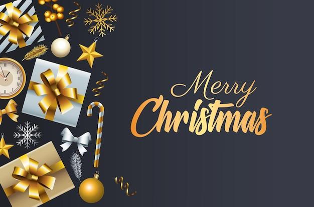 Goldene beschriftung der glücklichen frohen weihnachten mit geschenken und dekorativen ikonenillustration Premium Vektoren