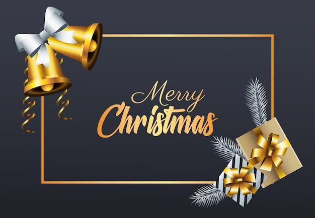 Goldene beschriftung der glücklichen frohen weihnachten mit geschenken und glocken in der quadratischen rahmenillustration