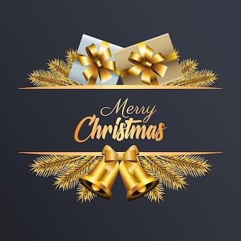 Goldene beschriftung der glücklichen frohen weihnachten mit geschenken und glockenillustration