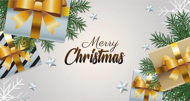 Goldene beschriftung der glücklichen frohen weihnachten mit geschenkgeschenken und blattillustration