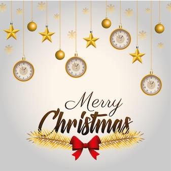 Goldene beschriftung der glücklichen frohen weihnachten mit hängenden illustrationen der kugeln und der uhren