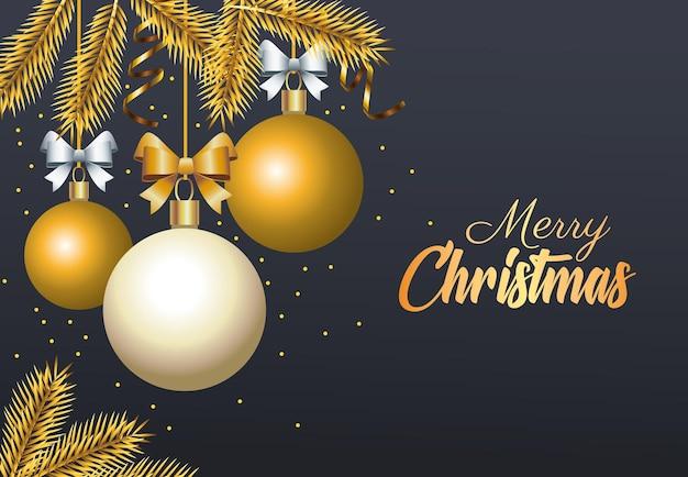 Goldene beschriftung der glücklichen frohen weihnachten mit illustrationen der kugeln und der tannen