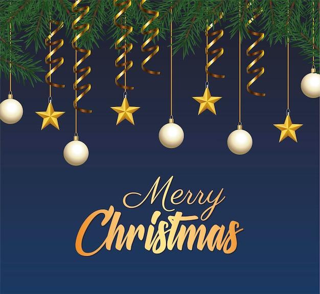 Goldene beschriftung der glücklichen frohen weihnachten mit kugeln und sternen, die in blattillustration hängen