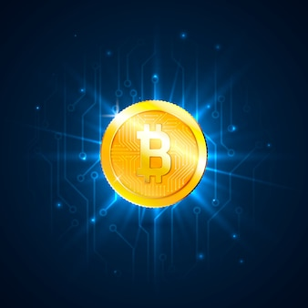 Goldene bitcoin digitale währung auf leiterplatte. futuristisches technologie-konzept für digitales geld oder kryptowährung
