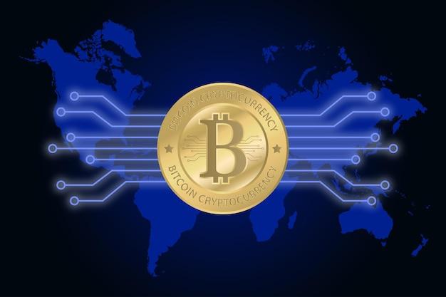 Goldene bitcoin-kryptowährung auf der weltkarte. konzept für digitales geld. vektor-illustration.