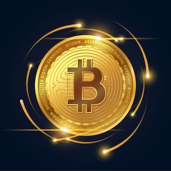 Goldene bitcoin-kryptowährung auf dunklem hintergrund, vektorillustrator