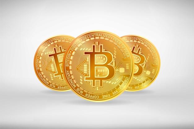 Goldene bitcoin-kryptowährungssymbole mit schatten auf weißem hintergrund. realistische vektorillustration.
