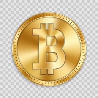 Goldene bitcoin-münze, währung, kryptowährung