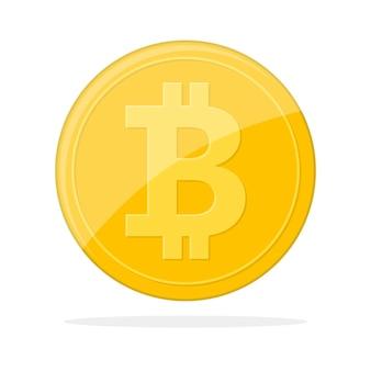 Goldene bitcoin-währung. bitcoin als kryptowährungssymbol, isoliert