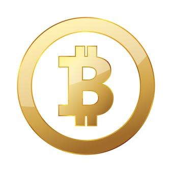 Goldene bitcoin-währung isoliert auf weiß