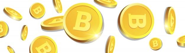 Goldene bitcoins 3d, die über weißen hintergrund fliegen, münzen mit cryptocurrency-zeichen-horizontaler fahne