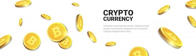 Goldene bitcoins des krypto-währungs-konzept-3d, die über weißen hintergrund mit kopien-raum-horizontaler fahne digital-web-geld fliegen