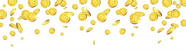 Goldene bitcoins, die über weißen hintergrund fliegen realistische münzen 3d mit cryptocurrency-zeichen-horizontaler fahne