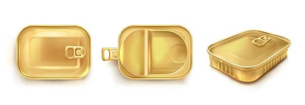 Goldene blechdose für sardine in draufsicht und perspektivischer ansicht. vector realistisches modell des rechteckmetallbehälters für fisch und thunfisch. leere aufbewahrungsbox mit offenem und geschlossenem deckel isoliert auf weißem hintergrund