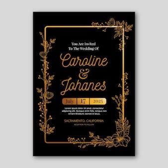 Goldene blumenhochzeitseinladungsschablone mit farbverlauf