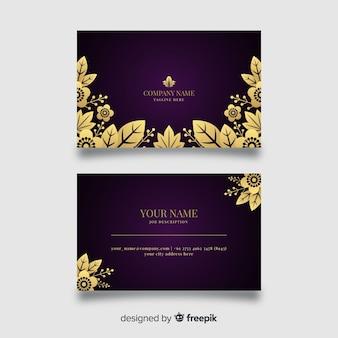 Goldene blumenvisitenkarte der schablone
