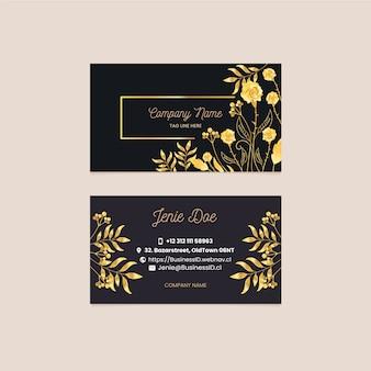 Goldene blumenvisitenkarteschablone