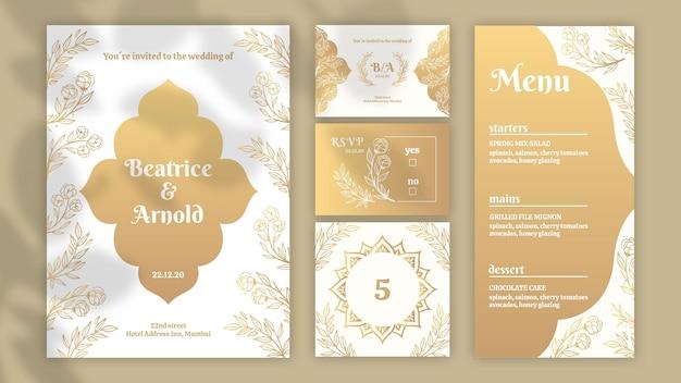 Goldene briefpapiersammlung für hochzeit