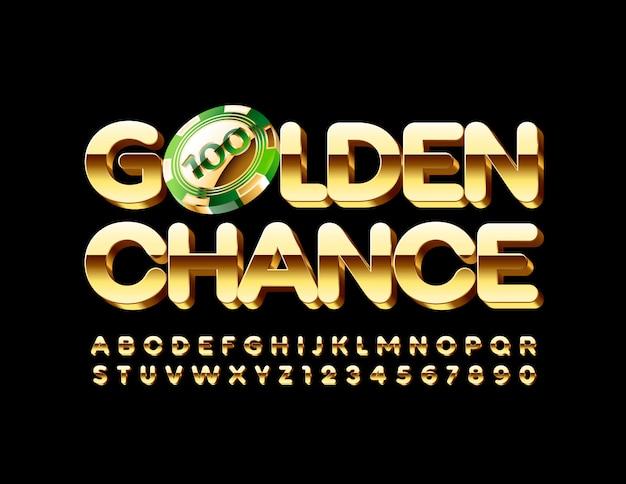 Goldene chance mit luxus-glücksspiel-chip. luxus 3d alphabet buchstaben und zahlen