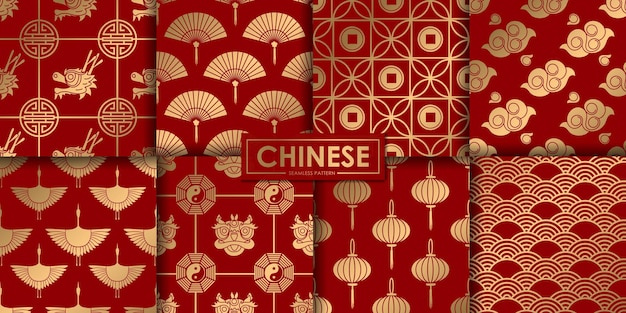 Goldene chinesische nahtlose musterkollektion.
