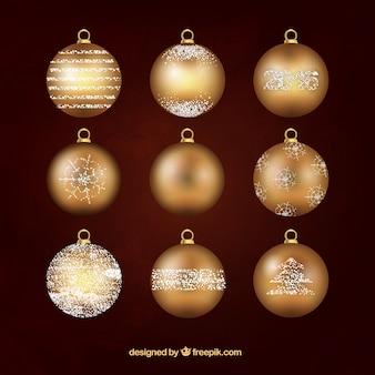 Goldene christbaumkugeln