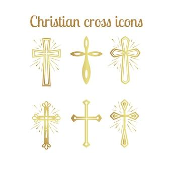 Goldene christliche kreuzikonen eingestellt