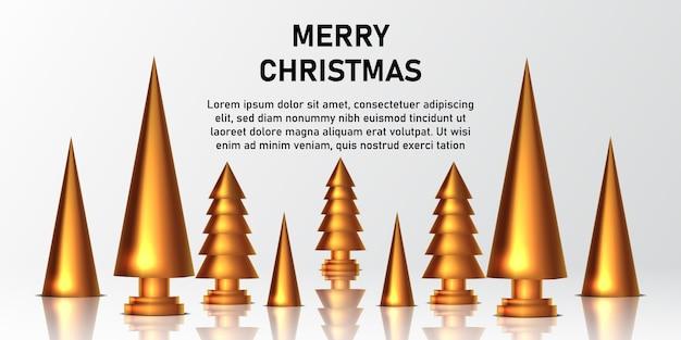 Goldene dekoration und zubehör des kiefernweihnachtsbaums und des goldenen kegels für grußkarten- und plakatfahnenschablone