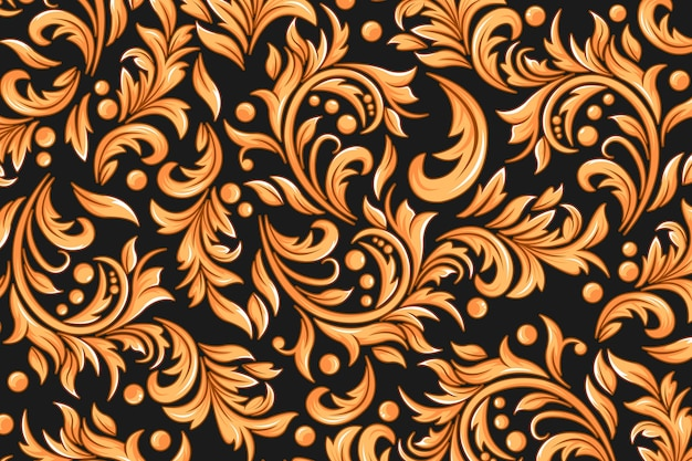 Goldene dekorative blumentapete