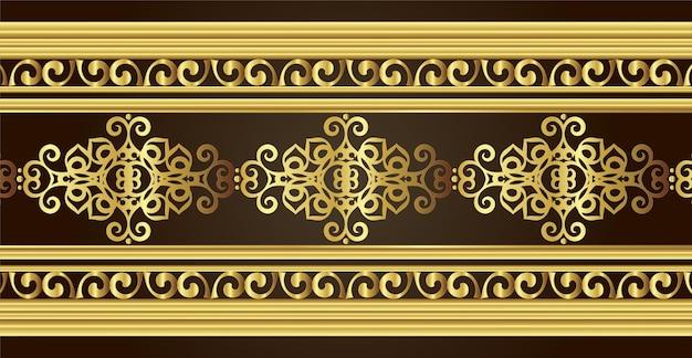 Goldene dekorative grenzentwurfsschablone