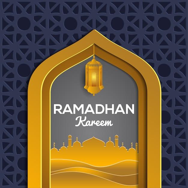 Goldene dekorative ramadan kareem-grußkarte