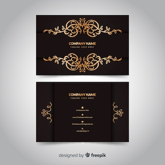 Goldene dekorative visitenkarte der schablone