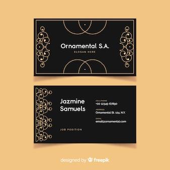 Goldene dekorative visitenkarteschablone