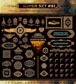 Goldene design-logos und vintage-schnörkel-embleme verzieren rahmen und ecken
