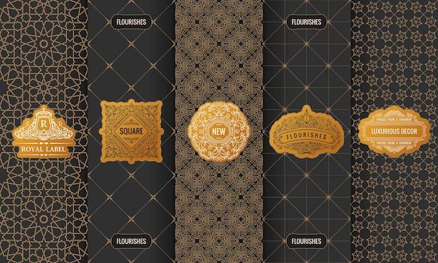 Goldene designer-etiketten mit logo im rahmen und luxusverpackung