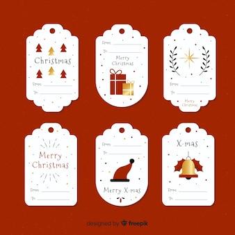 Goldene details weihnachtskennzeichnungssammlung