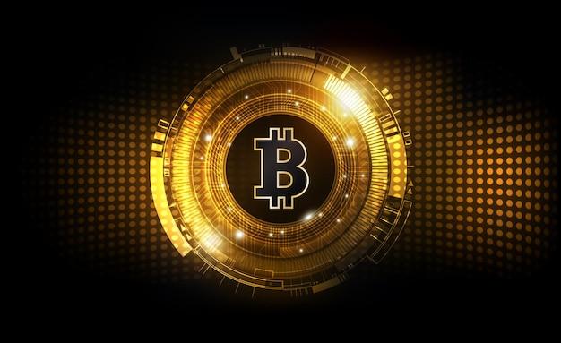 Goldene digitale bitcoin-währung futuristische digitale geldtechnologie weltweites netzwerkkonzept